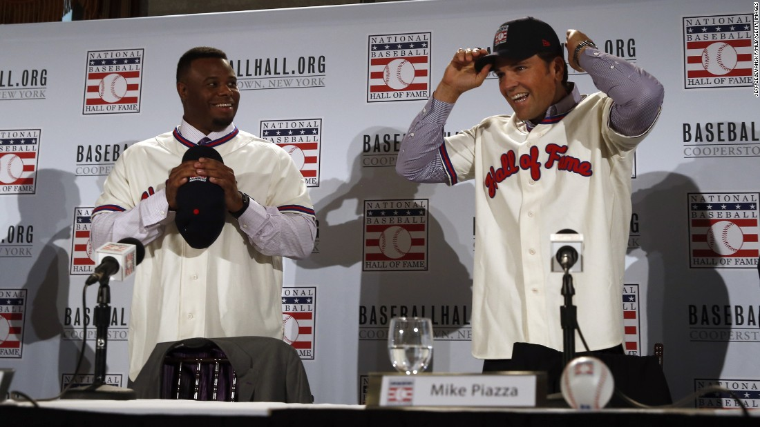 "Ken Griffey Jr., left, and Mike Piazza arrive for a news conference in New York on Thursday, January 7, a day after they <a href=""http://bleacherreport.com/articles/2605588-2016-bbwaa-hall-of-fame-election-results-announced"" target=""_blank"">were elected to the Baseball Hall of Fame.</a> Griffey received the highest percentage of Hall of Fame votes in history -- 99.3%."