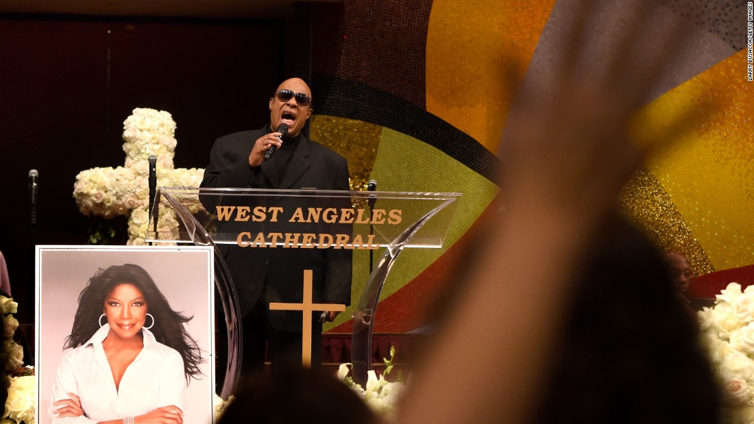 Stevie Wonder performs at a Celebration of Natalie Cole's Life at the West Angeles Church of God in Christ in Los Angeles on Monday, January 11.