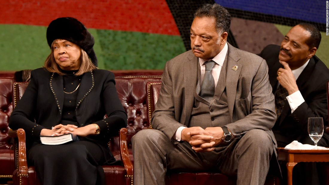 The Rev. Jesse Jackson was one of many famous attendees at the funeral.