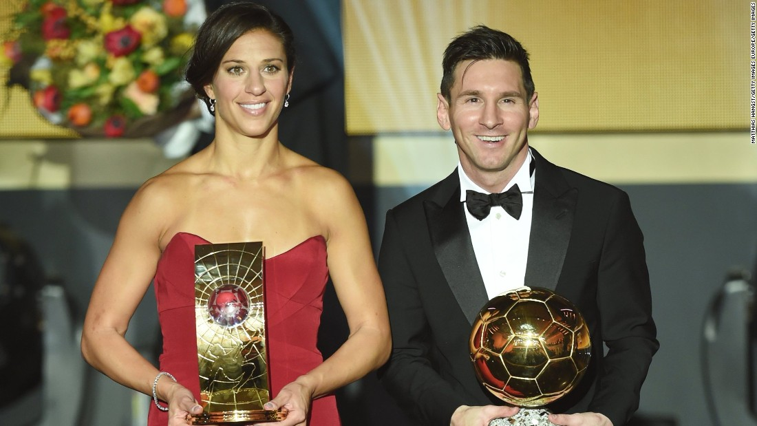 Carli Lloyd and Lionel Messi were named the world's best footballers at the FIFA Ballon d'Or Gala 2015.
