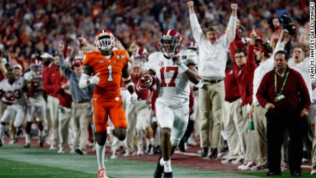 Alabama's Kenyan Drake returns a punt 95 yards for a touchdown against Clemson.