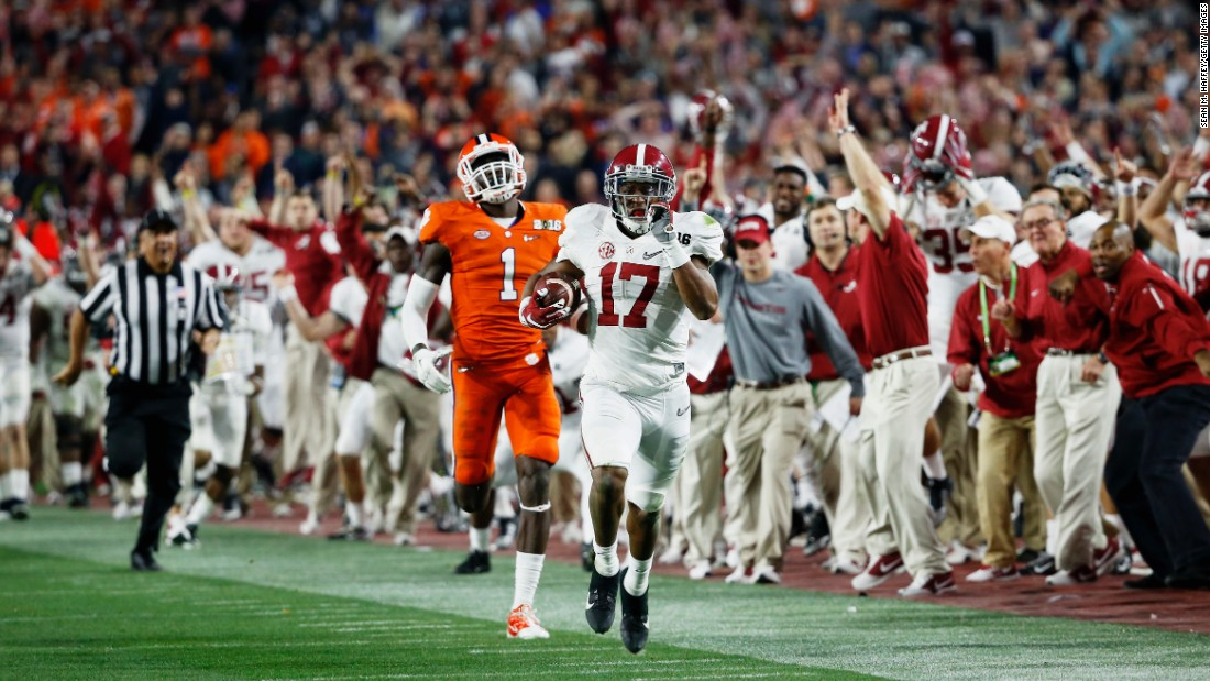 Alabama's Kenyan Drake returns a kickoff 95 yards for a touchdown late in the championship game of the College Football Playoff on Monday, January 11. Drake and the Crimson Tide defeated Clemson 45-40 in Glendale, Arizona. It is their fourth national title in the last seven years.