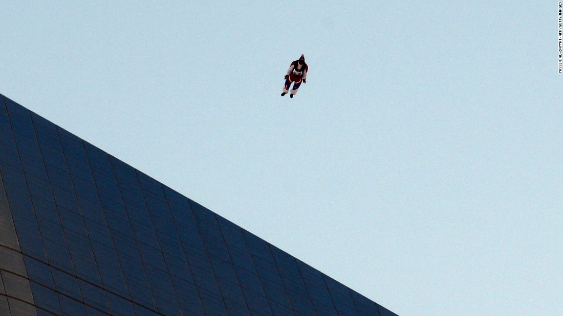 Australian Chris McDougall jumps from the top of Al Hamra Tower<strong> </strong>-- approximately 1,355 feet high --<strong> </strong>in March 2013.