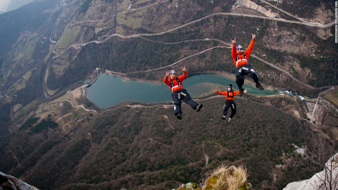 Fred Fugen, Vince Reffet and Jean-Phi Teffaud enjoy a March 2012 jump in Les Gorges de la Bourne, a canyon formed by the Bourne River in southeastern France.