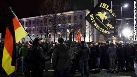 Protesters from the far-right PEGIDA movement attend a rally in Leipzig on Monday.