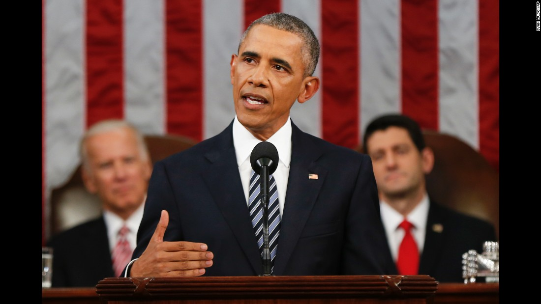 President Barack Obama delivers his final State of the Union address before a joint session of Congress on Capitol Hill on Tuesday, January 12.