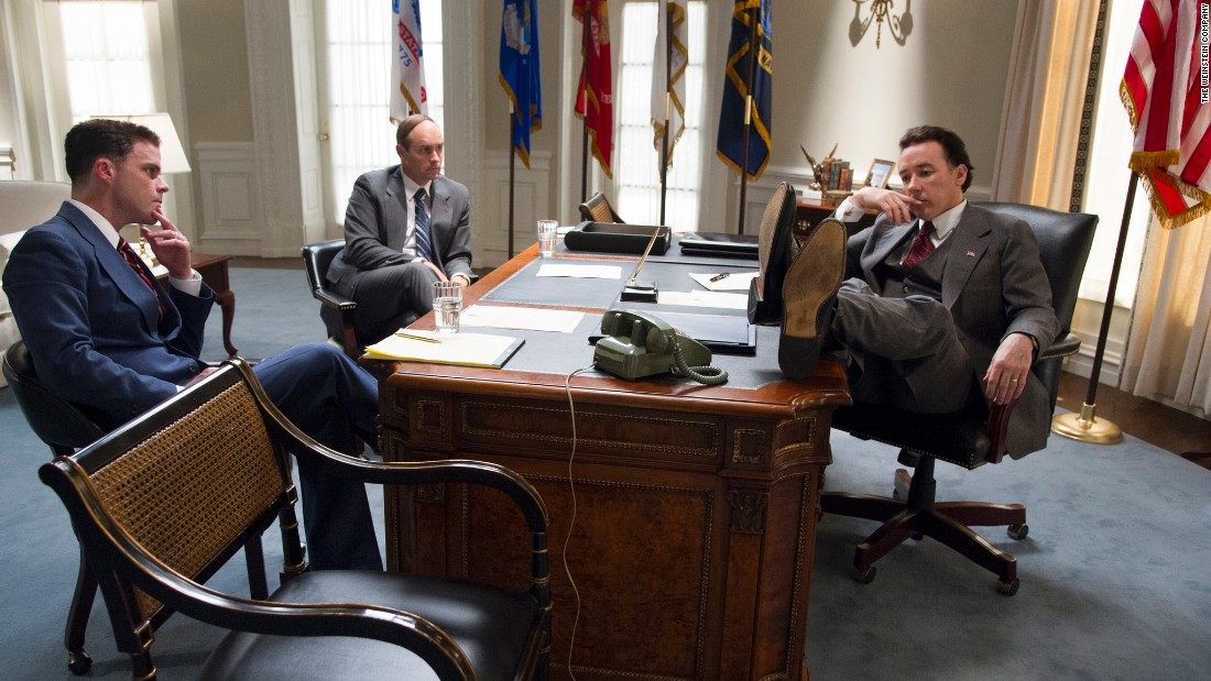 "John Cusack, right, took on the role of Richard Nixon in ""The Butler."""