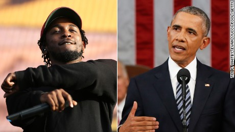 Kendrick Lamar (left) and Barack Obama are pictured in this composite image.