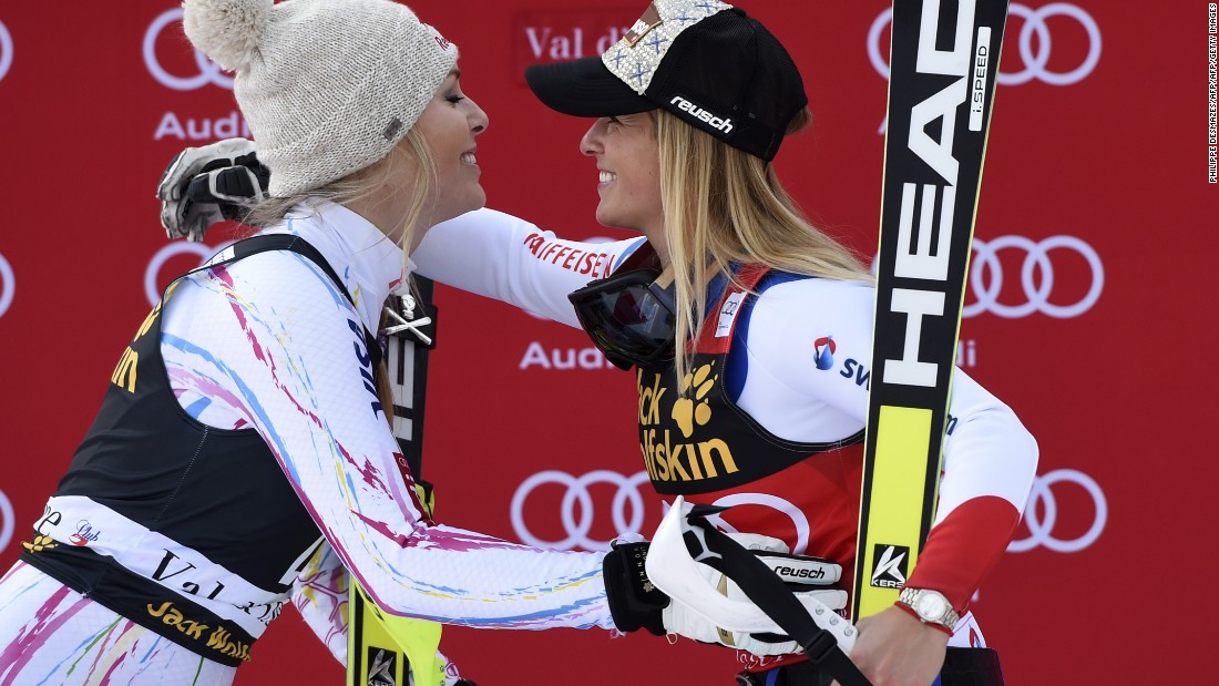 Vonn's season ended when she injured her leg, allowing her Swiss rival to reclaim first place.