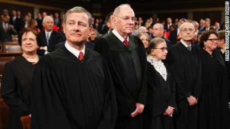 The Supreme Court Justices arrive prior to US President Barack Obama's State of the Union address before a Joint Session of Congress  on Capitol Hill in Washington, DC, January 12, 2016.