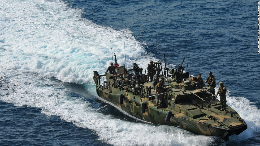A riverine command boat takes part in a training exercise in June 2012.