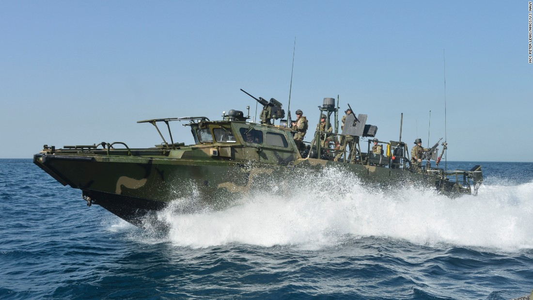 A riverine command boat is photographed in June 2013. According to the U.S. Navy, riverine squadrons perform point defense, fire support and interdiction operations, supporting maritime security and infrastructure protection in the 5th Fleet area of responsibility.