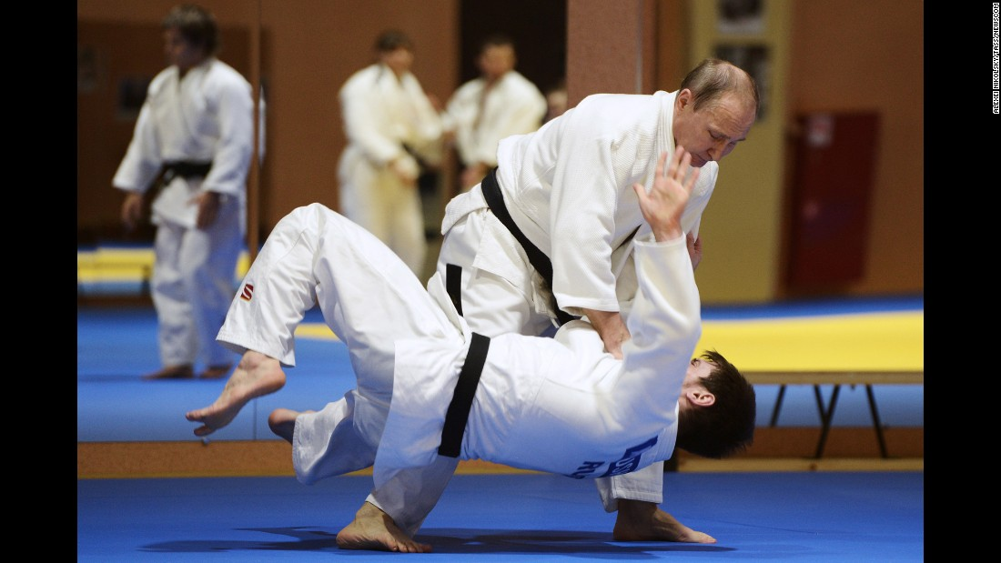 "Russian President <a href=""http://www.cnn.com/2012/03/02/europe/gallery/cult-of-vladimir-putin/index.html"" target=""_blank"">Vladimir Putin</a>, top, trains with his country's judo team in Sochi, Russia, on Friday, January 8."