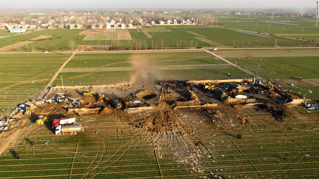 An aerial photograph shows what's left of a fireworks factory that exploded Thursday, January 14, in China's Tongxu County. Several people were killed.
