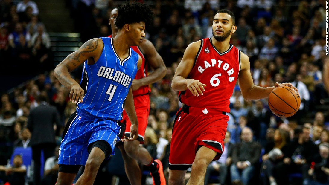The match was wasn't resolved until the final seconds. Here Cory Joseph of the Toronto Raptors dribbles towards Elfrid Payton of the Orlando Magic.