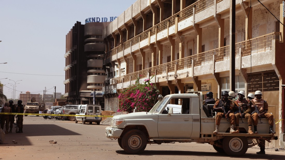 Armed forces secure the hotel following the siege.