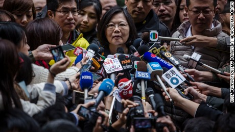 TAIPEI, TAIWAN - JANUARY 16:  Democratic Progressive Party (DPP) presidential candidate Tsai Ing-wen, talks to journalists after casting her ballot at a polling station on January 16, 2016 in Taipei, Taiwan. Voters in Taiwan are set to elect Tsai Ing-wen, the chairwoman of the opposition Democratic Progressive Party, to become the island's first female leader.  (Photo by Ulet Ifansasti/Getty Images)