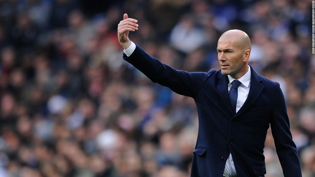 Zinedine Zidane marshals his team during Real Madrid's emphatic home win over Sporting Gijon.