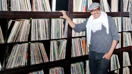 Ricci de Forest stands by his collection of vinyl inside the famous Madam C.J. Walker Museum.