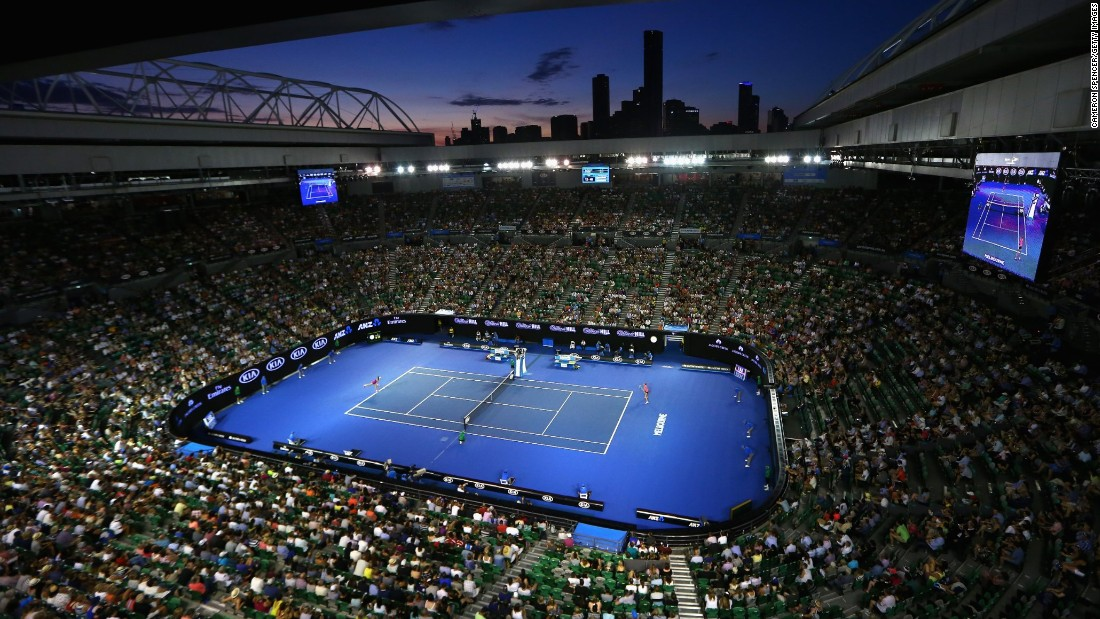 Melbourne Park's main stadium, the Rod Laver Arena, is pictured during the first-round match between Kristyna Pliskova and Australian 25th seed Samantha Stosur, which was won by the Czech player.