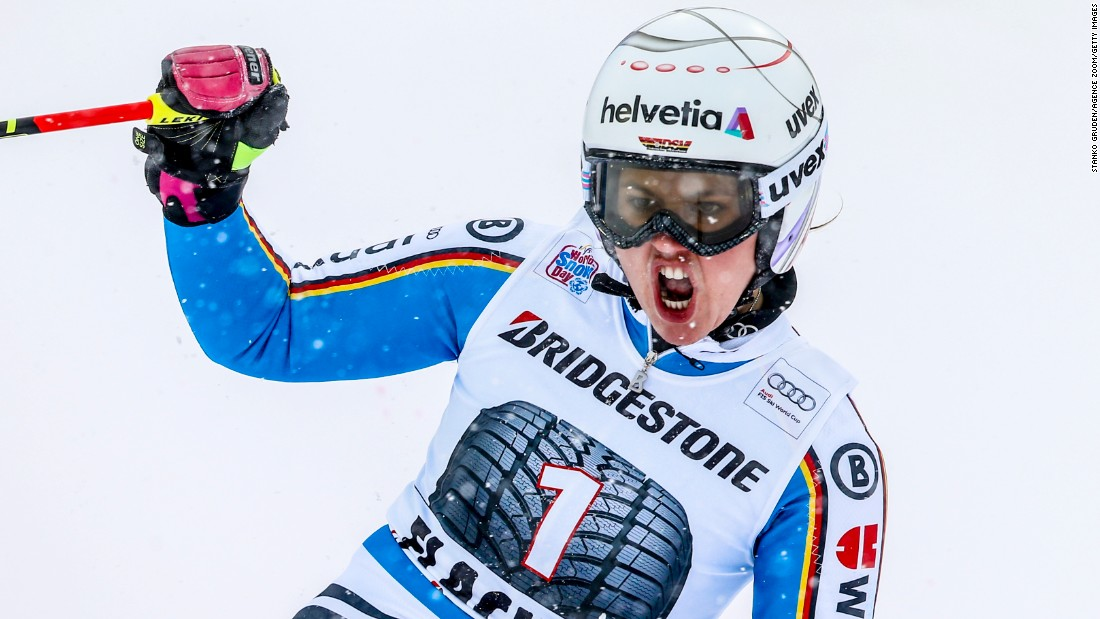 German skier Viktoria Rebensburg finishes first in the giant slalom during the World Cup event in Flachau, Austria, on Sunday, January 17.