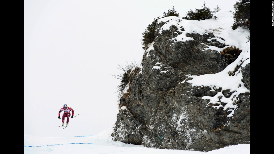 Norwegian skier Aksel Lund Svindal trains for a downhill race in Wengen, Switzerland, on Thursday, January 14.