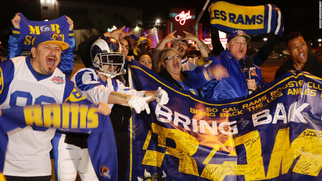 "People in Inglewood, California, celebrate after NFL owners <a href=""http://money.cnn.com/2016/01/12/news/nfl-los-angeles/"" target=""_blank"">approved the return of the Los Angeles Rams</a> on Tuesday, January 12. The football franchise had been playing in St. Louis since 1995, but it is relocating for next season. The Rams played in Los Angeles from 1946-1994."