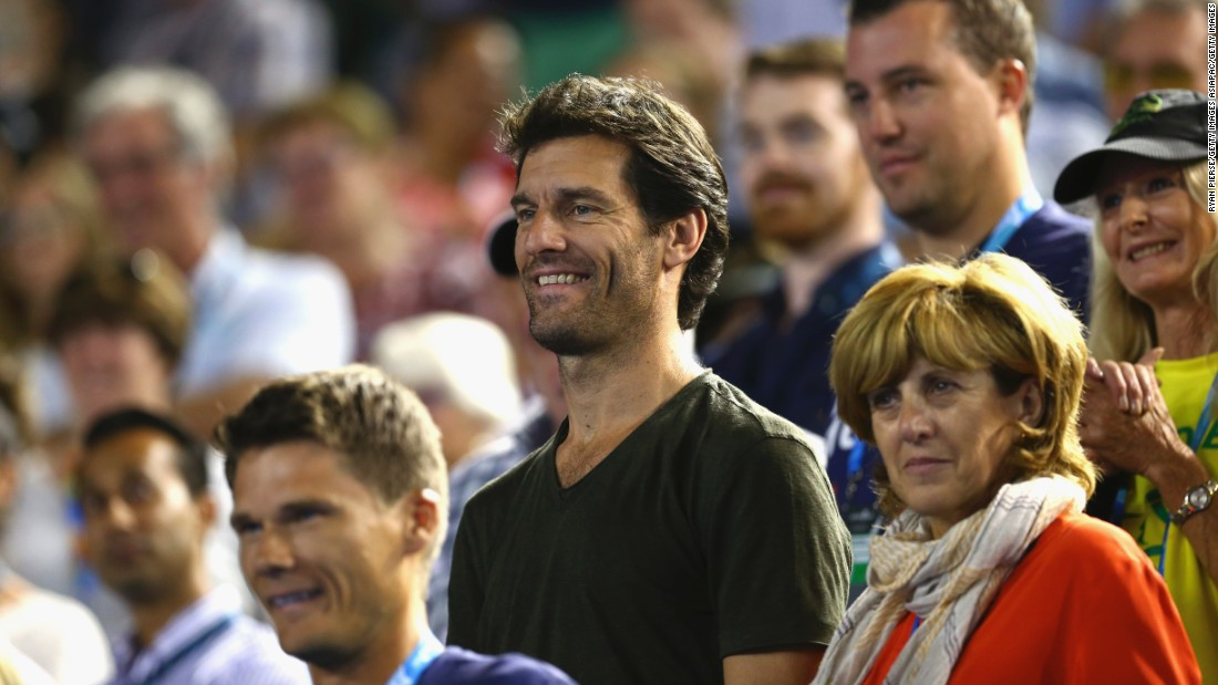 Former Formula One driver Mark Webber was among those in attendance at the Rod Laver Arena during the second day of the Australian Open.