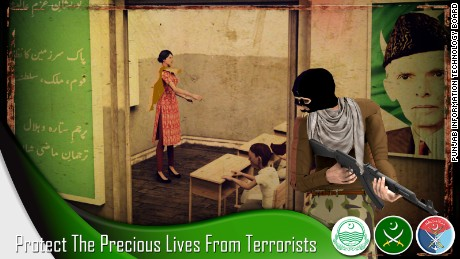 "A screengrab from the video game ""Pakistan Army Retribution,"" set during the 2014 attack on the Army Public School in Peshawar, Pakistan."