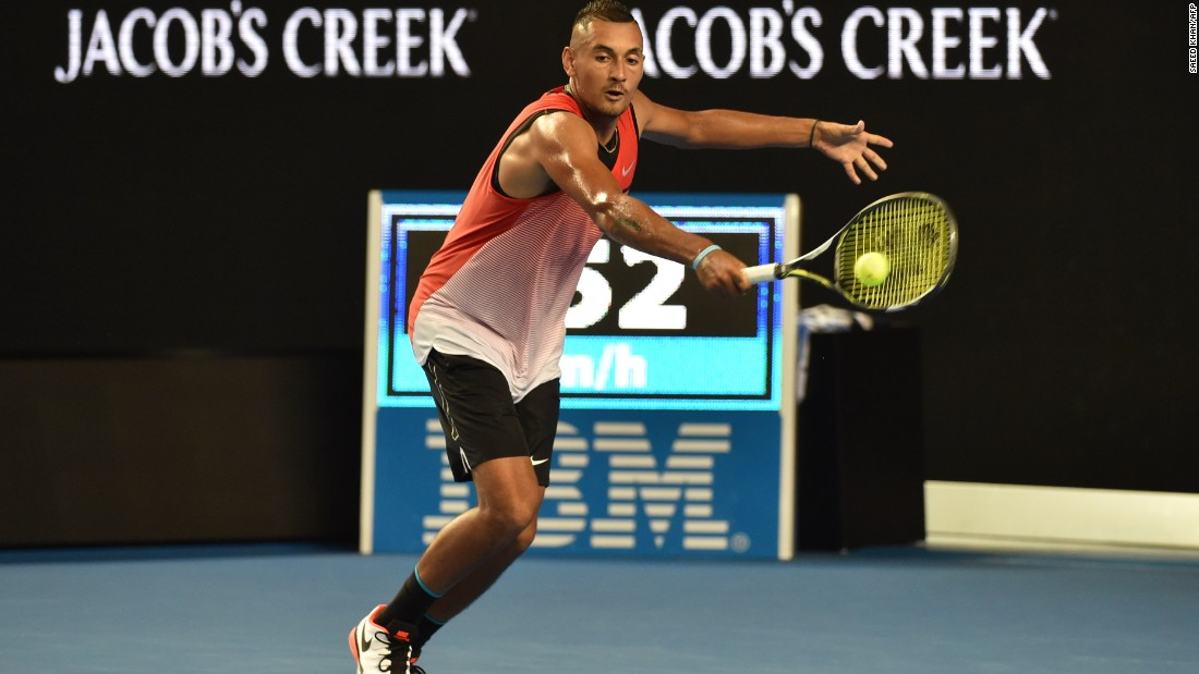 After a quick change, Krygios reappeared in new shorts, proceeding to beat Uruguay's Paolo Cuevas 6-4 7-5 7-6.