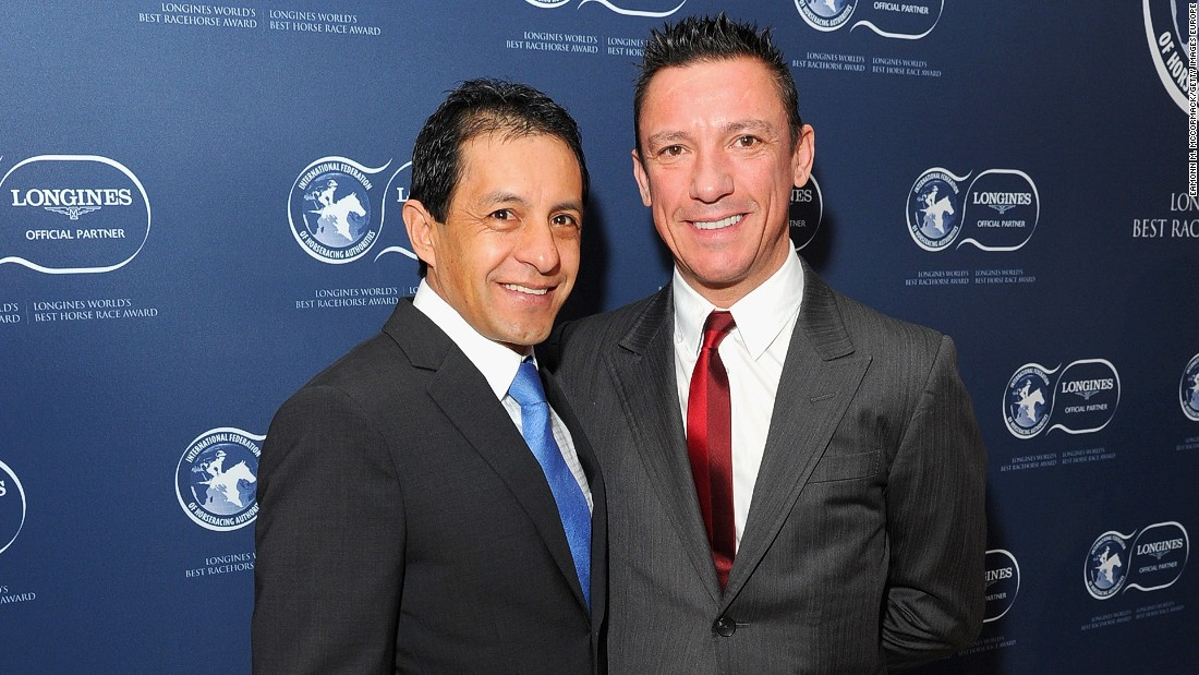 "Victor Espinoza and Frankie Dettori pose for a photo at the he Longines World's Best Racehorse  Awards. Dettori had a stellar year in the saddle piloting Golden Horn to victory in the Epsom Derby and the Prix de l'Arc de Triomphe in 2015. ""My best year since 1996,"" Dettori told CNN."
