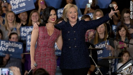 Singer Demi Lovato appeared at a campaign event for Hillary Clinton on Thursday in Iowa City, Iowa.