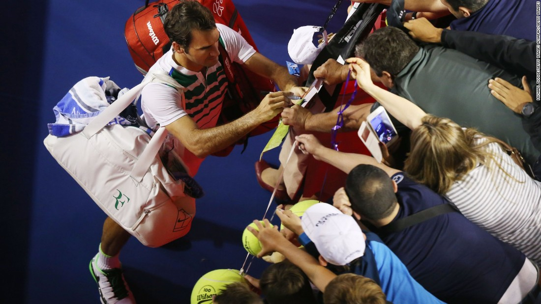 Federer, who turns 35 this August, is still hugely popular with fans -- at court side in Melbourne (pictured) and all over the world.