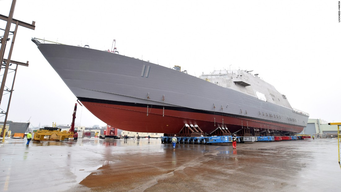 The littoral combat ship USS Sioux City (LCS 11) is prepared for launch at the Lockheed-Martin facility in Marinette, Wisconsin.