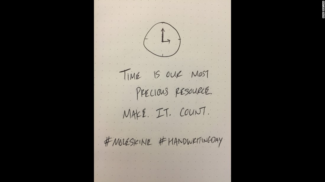 Adam Leibsohn, COO of Giphy, a search engine for gifs, shares timely advice and a doodle with his note.