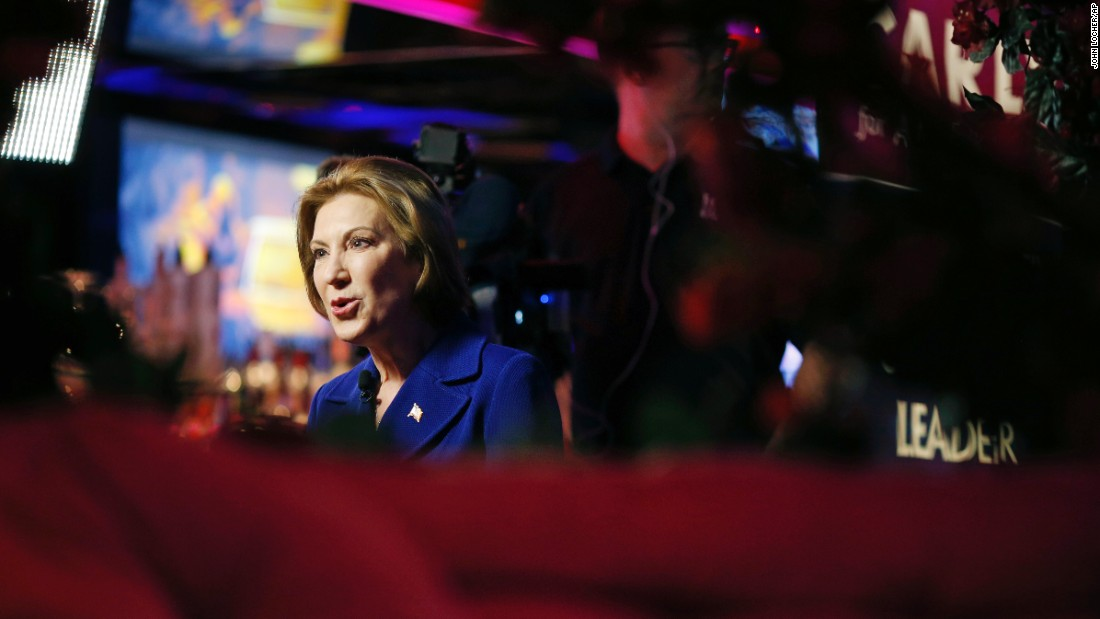 Republican presidential candidate Carly Fiorina speaks with the media during a campaign stop in Las Vegas on Monday, January 18.