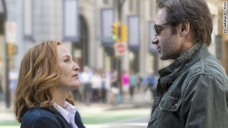 "Gillian Anderson stars as Dana Scully and David Duchovny as Fox Mulder in ""The X-Files."""