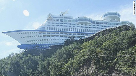 "Billing itself as the ""first luxury cruise ship on land,"" the Sun Cruise Resort in South Korea offers everything you'd experience on the open sea -- minus the sickness and ports of call."