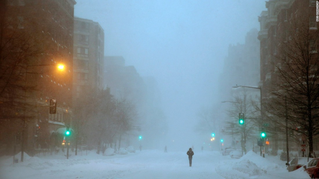 A pedestrian in Washington walks south on 13th Street on Saturday, January 23.