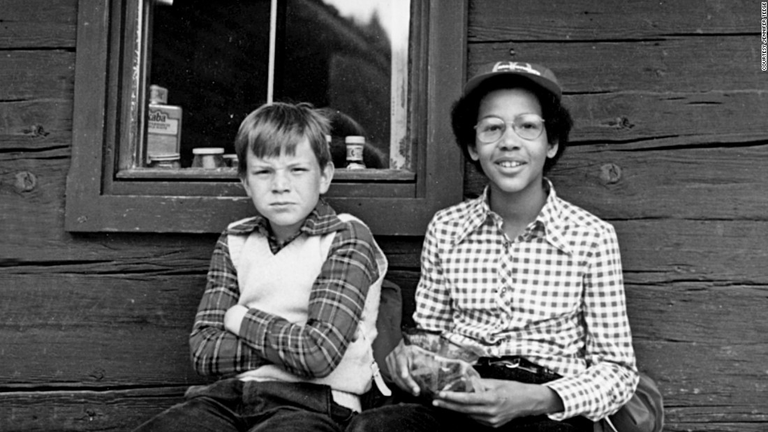 When she was growing up in the 1970s, Teege, shown here with her adoptive brother Matthias, was the only black child in her Munich neighborhood.