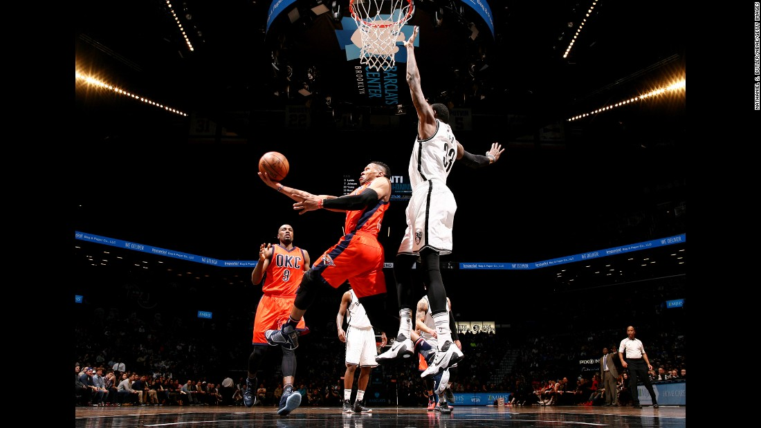 Oklahoma City guard Russell Westbrook goes for a layup during an NBA game in Brooklyn, New York, on Sunday, January 24.