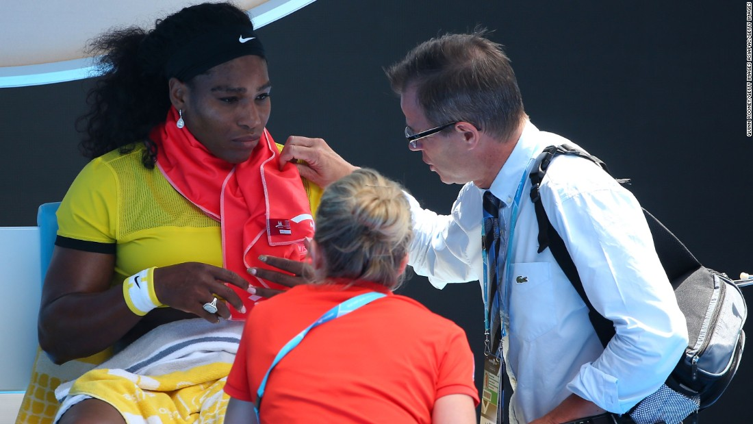 The world No. 1 was forced to see the tournament doctor twice and was given a fruit bar. Her coach Patrick Mouratoglou told reporters she felt dizzy and Williams herself admittied she had suffered food poisoning just days earlier.