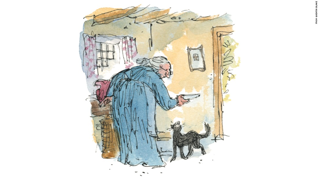 "Quentin Blake, known for his work with Roald Dahl, illustrated  ""Kitty in Boots."""