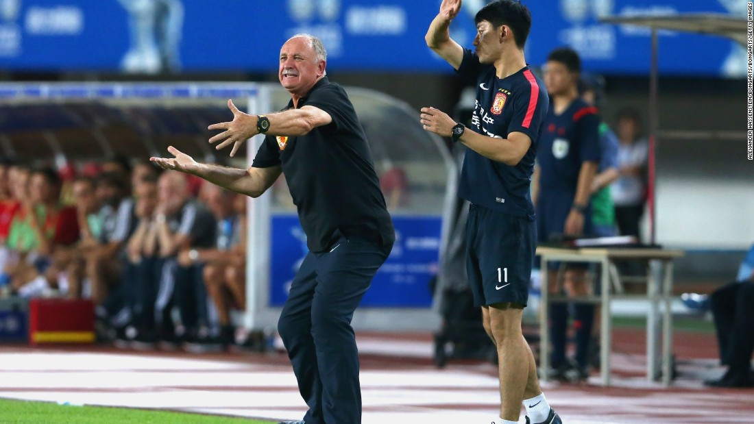 Former Brazil and Chelsea manager Luiz Felipe Scolari -- now head coach of Asian Champions League winners FC Guangzhou Evergrande -- reacts during the international friendly match against Bayern Munich on July 23, 2015.