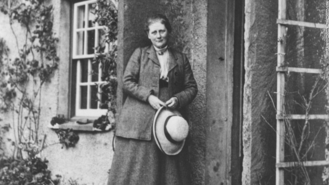 Potter at her home, Hill Top Farm, near Sawrey, in 1913.