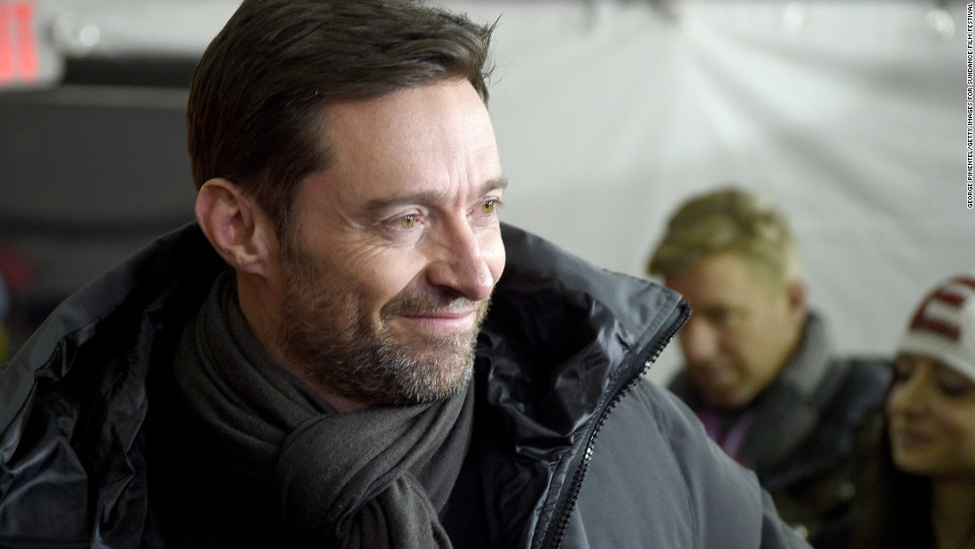 "Actor Hugh Jackman attends a Sundance screening of ""Eddie the Eagle"" Tuesday. Jackman plays a coach in the film, based on the true story of a British Olympic ski jumper who became an unlikely cult hero."