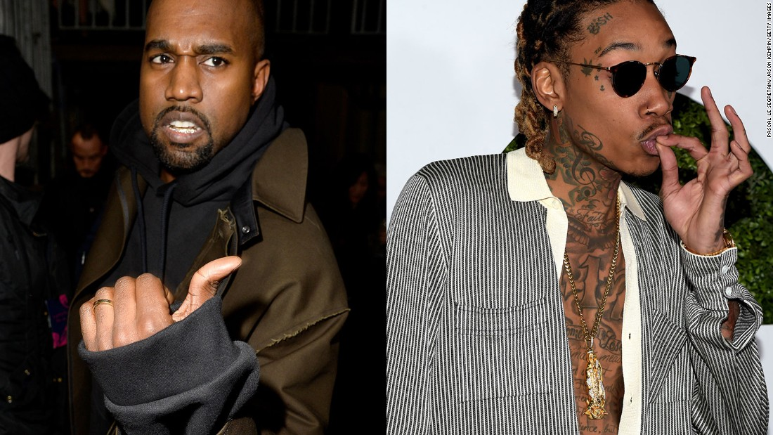 "West, left, went in on fellow rapper Wiz Khalifa in a series of tweets Wednesday, January 27, after Khalifa was critical of the title of West's new project. West l<a href=""http://money.cnn.com/2016/01/27/media/kanye-west-wiz-khalifa-twitter-rant/"">ater deleted several of the tweets. </a>"
