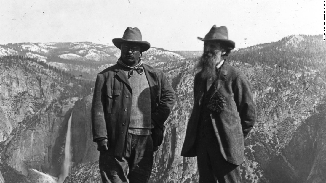President Theodore Roosevelt worked with Congress to create national parks and turned to the Antiquities Act of 1906 to create national monuments. He's shown here (left) with conservationist John Muir in Yosemite.