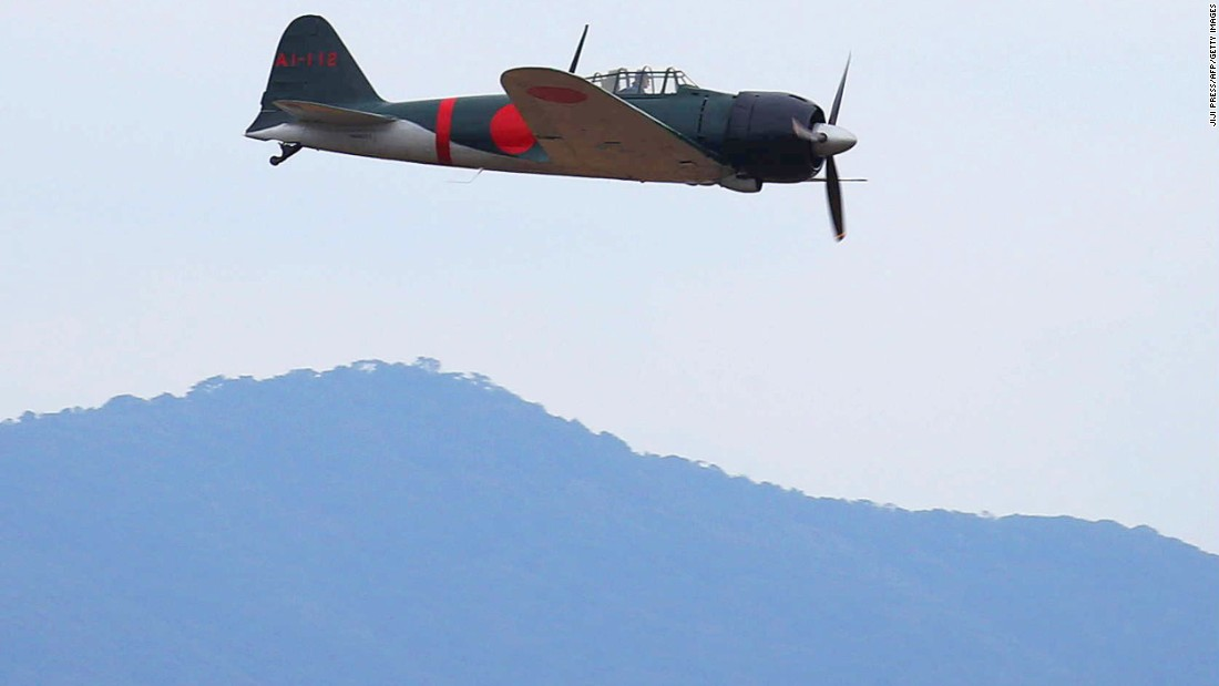 The Zero -- flown by legendary former U.S. Air Force pilot Skip Holm -- took off from Kanoya air base, which is used by Japan's Maritime Defense Force.