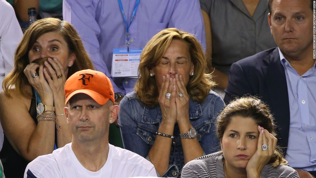 Watched in Melbourne by his wife Mirka (bottom right), the Swiss great was also beaten by Djokovic in the final of the previous two grand slams, Wimbledon and the U.S. Open, plus the season-ending ATP championships.